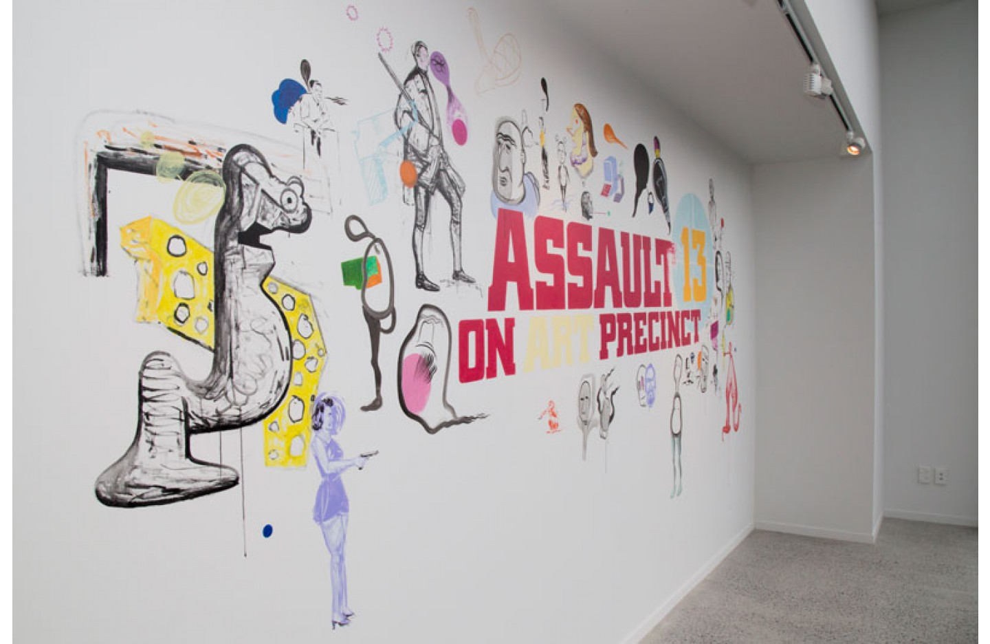 "Installation image of ""Assault on Art Precinct 13"", Ramp Gallery Oct 2014. Including: Mark Braunias, Craig McClure, Alex John and Joseph Scott"